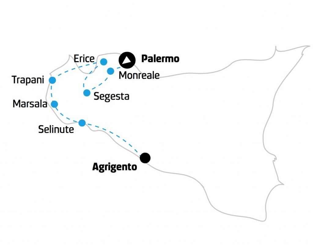 Tour Sicilia occidentale mappa