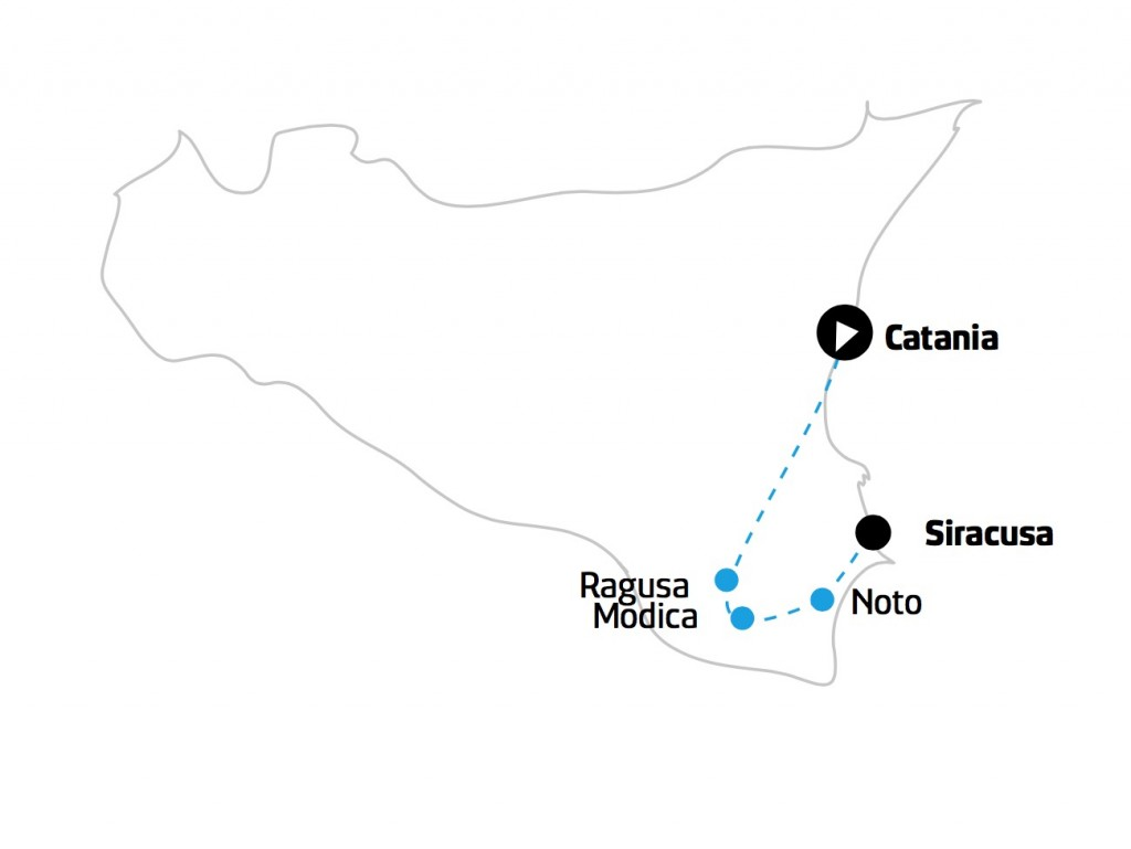 Tour Sicilia orientale mappa
