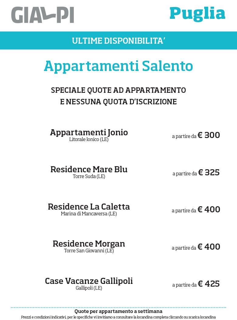 SELEZIONE              GIALPI - PUGLIA | Appartamenti Gallipoli a partire da Euro              300 per appartamento a settimana